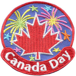 Canada, Day, Dominion, Maple, Leaf, Fire, Fireworks, Star, Patch, Embroidered Patch, Merit Badge, Badge, Emblem, Iron On, Iron-On, Crest, Lapel Pin, Insignia, Girl Scouts, Boy Scouts, Girl Guides