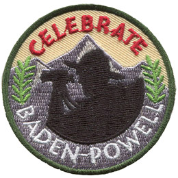 The black silhouette of Lord Baden-Powell, in his hat and with his binoculars, rests against a the background of a single mountain. Two green plants rest on either side of the shadow. The word 'Celebrate' is at the top of this circular patch and 'Baden-Powell' rests on the bottom.