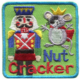 A humanoid nutcracker stands in a nice dress uniform on the left of the patch while a mouse king with beady eyes stands to the right. The words 'Nut Cracker' rest at the bottom of this patch.
