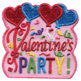 Red and blue heart shaped balloons float at the top of this patch, while the first two balloon ribbons form the 'V' for the word 'Valentine's'. Underneath the word 'Party' is embroidered in multi-coloured threads. The background of this crest is decorated with confetti and streamers.