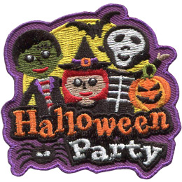 Three happy children are out on a full moon. From left to right the children are dressed up as: Frankenstein, a witch, and a skeleton. A bat flies overhead. The words 'Halloween Party' are embroidered near the bottom. A spider dangles from the 'a' in 'Halloween.'
