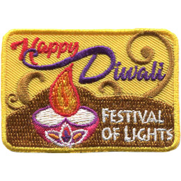 <p>This rectangular yellow patch has the words 'Happy Diwali' at the top and 'Festival of Lights' at the bottom next to a candle with a round base.</p>