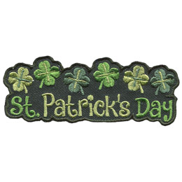 This green patch has the words \'St. Patrick\'s Day\' underneath a row of six shamrocks.