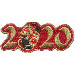 Golden numbers form \'2020\' on a background of red twill. A golden rat is shown peeking out of the first \'0\'.