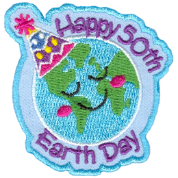 A globe of Earth has a closed-eyes happy face and wears a party hat. The words Happy 50th arch along the top curvature of the world and Earth Day does the same at the bottom.