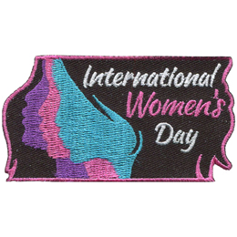 This rectangular patch shows the side profile of a young woman with three different faces where each face is a different colour. In her hair rests the text \'International Women\'s Day.\'