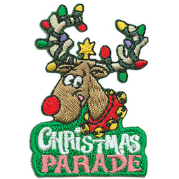 A reindeer with a bright red nose smiles happily with his antlers tangled in Christmas lights and a star on top his head. The words 'Christmas Parade' are embroidered underneath.