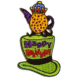 Happy, Birthday, Hat, Tea, Party, Tea Party, Pot, Top, Alice, Patch, Embroidered Patch, Merit Badge, Iron On, Iron-On, Crest, Girl Scouts, Boy Scouts,