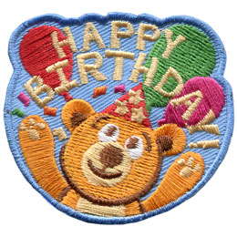 Happy, Birthday, Teddy Bear, Bear, Star, Patch, Embroidered Patch, Merit Badge, Badge, Emblem, Iron On, Iron-On, Crest, Lapel Pin, Insignia, Girl Scouts, Boy Scouts, Girl Guides