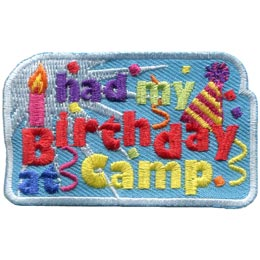 Birthday, Camp, Hat, Cake, Candles, Party, Patch, Embroidered Patch, Merit Badge, Badge, Emblem, Iron On, Iron-On, Crest, Lapel Pin, Insignia, Girl Scouts, Boy Scouts, Girl Guides
