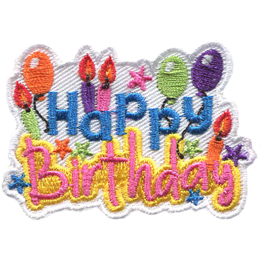 The words, \'Happy Birthday,\' are surrounded by candles, balloons, and stars.