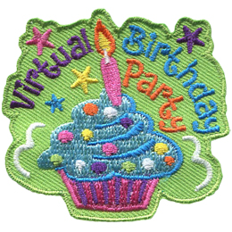 A cupcake with icing, confetti sprinkles, and a candle on top is surrounded by the words Virtual Birthday Party.