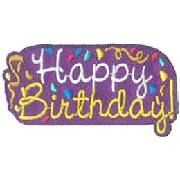 Happy Birthday, Party, Present, Star, Ribbon, Patch, Embroidered Patch, Merit Badge, Crest, Girl Scouts, Boy Scouts, Girl Guides
