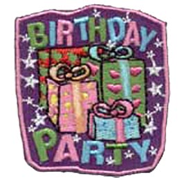 Birthday Party, Present, Star, Ribbon, Patch, Embroidered Patch, Merit Badge, Crest, Girl Scouts, Boy Scouts, Girl Guides