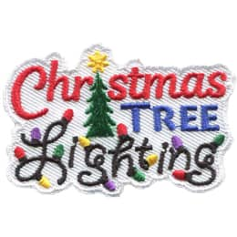 The words \'Christmas Tree Lightning\' are stacked on top of each other. \'Lighting\' is decorated with Christmas lights.
