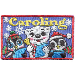 Caroling, Carolling, Carol, Christmas, Singing, Bear, Penguin, Snow, Patch, Embroidered Patch, Merit Badge, Iron On, Iron-On, Crest, Girl Scouts, Bo