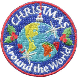 Christmas, World, Star, Holly, Ornament, Patch, Embroidered Patch, Merit Badge, Badge, Emblem, Iron On, Iron-On, Crest, Lapel Pin, Insignia, Girl Scouts, Boy Scouts, Girl Guides