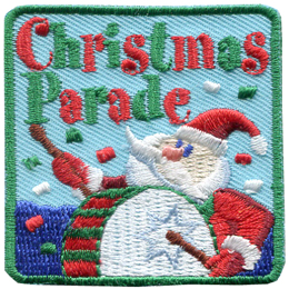 Christmas, Parade, Santa, Claus, Drum, Patch, Embroidered Patch, Merit Badge, Badge, Emblem, Iron On, Iron-On, Crest, Lapel Pin, Insignia, Girl Scouts, Boy Scouts, Girl Guides