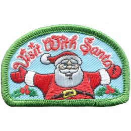 Santa, Claus, Christmas, Visit, Holly, Patch, Embroidered Patch, Merit Badge, Badge, Emblem, Iron On, Iron-On, Crest, Lapel Pin, Insignia, Girl Scouts, Boy Scouts, Girl Guides
