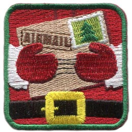 Santa, Letters, Christmas, Snow, Stamp, Belt, Mail, Envelope, Patch, Embroidered Patch, Merit Badge, Badge, Emblem, Iron On, Iron-On, Crest, Lapel Pin, Insignia, Girl Scouts, Boy Scouts, Girl Guides