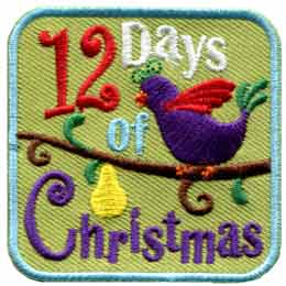 12, Days, Christmas, Pear, Tree, Partridge, Patch, Embroidered Patch, Merit Badge, Badge, Emblem, Iron On, Iron-On, Crest, Lapel Pin, Insignia, Girl Scouts, Boy Scouts, Girl Guides