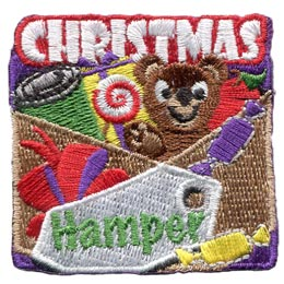 Christmas, Hamper, Bear, Teddy, Candy, Food, Bow, Lollipop, Patch, Embroidered Patch, Merit Badge, Badge, Emblem, Iron On, Iron-On, Crest, Lapel Pin, Insignia, Girl Scouts, Boy Scouts, Girl Guides