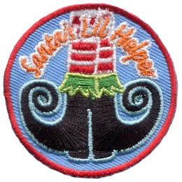 Santa, Little, Helper, Elf, Work, Shop, Boots,  Patch, Embroidered Patch, Merit Badge, Badge, Emblem, Iron On, Iron-On, Crest, Lapel Pin, Insignia, Girl Scouts, Boy Scouts, Girl Guides
