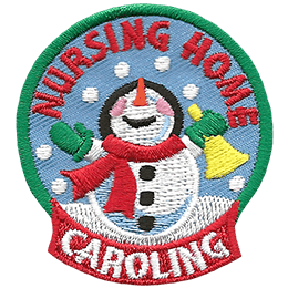 A snowman sings cheerfully within a snowflake filled snow globe. The words ''Nursing Home'' are embroidered in the top arch of the globe and ''Caroling'' is written at the globe's base. The snowman is dressed in green gloves, a red scarf, and a black top hat. In his right hand is a yellow hand bell.