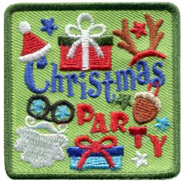 This primarily green patch has the word \'\'Christmas\'\' in the center and \'\'Party\'\' descending from the center to the bottom right corner. Along the top of the patch are pictures of a Santa hat, a Christmas present, and a reindeer antler hat. Along the bottom are images of Santa\'s beard, a Christmas present, and an acorn ornament.