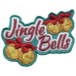 The word 'Jingle Bells' has a set of yellow ball-bells with a red ribbon to the top right and bottom left.