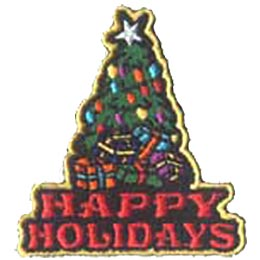 Happy, Holiday, Christmas, Tree, Star, Present, Patch, Embroidered Patch, Merit Badge, Badge, Emblem, Iron On, Iron-On, Crest, Lapel Pin, Insignia, Girl Scouts, Boy Scouts, Girl Guides