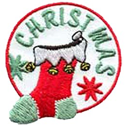 Christmas, Stocking, Snow, Flake, Bell, Sock, Patch, Embroidered Patch, Merit Badge, Badge, Emblem, Iron On, Iron-On, Crest, Lapel Pin, Insignia, Girl Scouts, Boy Scouts, Girl Guides
