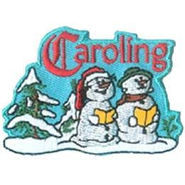 Caroling, Carolling, Carol, Christmas, Singing, Snowmen, Snow, People, Patch, Embroidered Patch, Merit Badge, Iron On, Iron-On, Crest, Girl Scouts, Bo