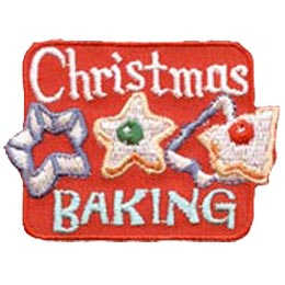 Christmas, Baking, Bake, Cookie, Cutter, Patch, Embroidered Patch, Merit Badge, Badge, Emblem, Iron On, Iron-On, Crest, Lapel Pin, Insignia, Girl Scouts, Boy Scouts, Girl Guides