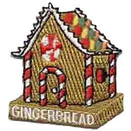 Gingerbread, House, Christmas, Candy, Cane, Icing, Patch, Embroidered Patch, Merit Badge, Badge, Emblem, Iron On, Iron-On, Crest, Lapel Pin, Insignia, Girl Scouts, Boy Scouts, Girl Guides