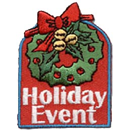Holiday Event, Christmas, Wreath, Bow, Ribbon, Bells, Holiday, Patch, Crest, Merit Badge, Girl Scouts, Girl Guides, Boy Scouts