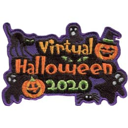 The words\' Virtual Halloween 2020\' are stacked on top of each other. All around the words are Halloween images of cats, ghosts, pumpkins, and spiders.