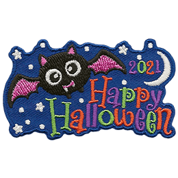 A fanged bat soars through a moon-lit stary sky above the words 'Happy Halloween'.