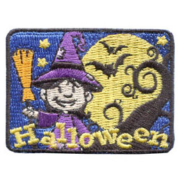 Halloween, Witch, Bat, Star, Broom, Hat, Magic,  Patch, Embroidered Patch, Merit Badge, Badge, Emblem, Iron On, Iron-On, Crest, Lapel Pin, Insignia, Girl Scouts, Boy Scouts, Girl Guides