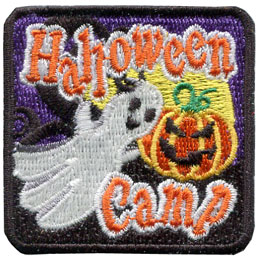 Halloween, Ghost, Glow, Dark, Glow in the dark, Pumpkin, Patch, Embroidered Patch, Merit Badge, Badge, Emblem, Iron On, Iron-On, Crest, Lapel Pin, Insignia, Girl Scouts, Boy Scouts, Girl Guides