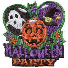 Three balloons sit over the words 'Halloween Party'. From left to right, the balloons have the pictures of: a ghost, a pumpkin, and a witches hat.