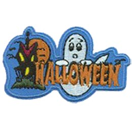 A ghost floats behind the word ''Halloween'' while off to the left a haunted house forms a scary face with its windows and door. A full moon rises in the background and bats flutter around the house.