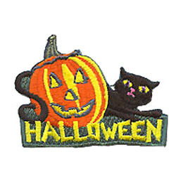 Halloween, Black Cat, Cat, Pumpkin, October, Patch, Embroidered Patch, Merit Badge, Iron On, Iron-On, Crest, Girl Scouts, Boy Scouts, Girl Guides