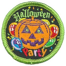 Halloween, Party, Pumpkin, Candy, Balloons, Trick, Treat, Jack-o-Lantern, Patch, Embroidered Patch, Merit Badge, Badge, Emblem, Iron On, Iron-On, Crest, Lapel Pin, Insignia, Girl Scouts, Boy Scouts, Girl Guides