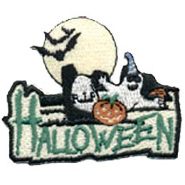 Halloween, Ghost, Bat, Pumpkin, RIP, Moon, Patch, Embroidered Patch, Merit Badge, Badge, Emblem, Iron On, Iron-On, Crest, Lapel Pin, Insignia, Girl Scouts, Boy Scouts, Girl Guides