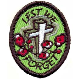 Lest We Forget, Remembrance Day, Veteran, Legion, Soldier, Patch, Crest, Merit Badge, Girl Guides, Girl Scouts, Boy Scouts
