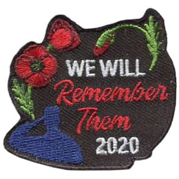 The text \'We Will Remember Them 2020\' is on a black background with red poppies, in various stages of bloom, arching from the middle left to the top right of the crest. In the bottom left is a solider saluting.