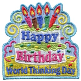 Happy, Birthday, World, Thinking, WAGGS, Cake, Candles, Party, Patch, Embroidered Patch, Merit Badge, Badge, Emblem, Iron On, Iron-On, Crest, Lapel Pin, Insignia, Girl Scouts, Boy Scouts, Girl Guides