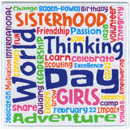 This square patch is filled with words going every which direction. T most prominent say \'World Thinking Day\', \'Sisterhood\', \'Girls\', and \'Adventure\'.
