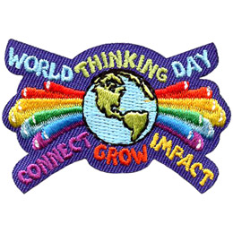 Rainbow shooting stars explode out to the left and right of a globe of the world. The words 'World Thinking Day' sit on the top of the patch and 'Connect, Grow, Impact' rest on the bottom.